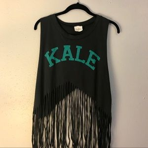 Tops - Gray fringe Kale Tank